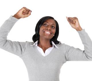 woman celebrates blog