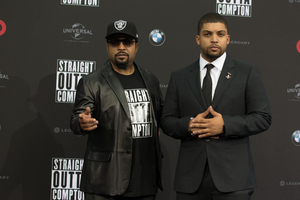 Ice Cube and son O'Shea Jackson Jr. at 'Straight Outta Compton' premiere
