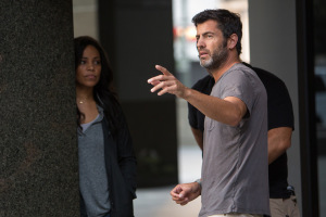 Director David Rosenthal (right) and Sanaa Lathan on the set of Screen Gems' THE PERFECT GUY.