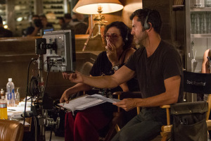 Script supervisor Ronit Ravich-Boss (left) and director David M. Rosenthal on the set of Screen Gems' THE PERFECT GUY.